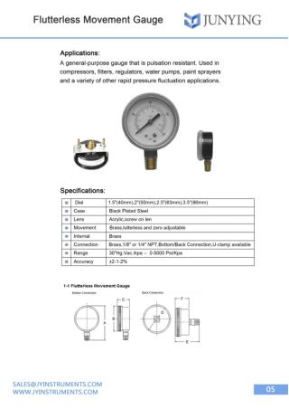 Flutterless Movement Gauge | Shanghai Jun Ying Instruments Co.Ltd