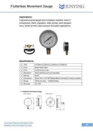 Flutterless Movement Gauge | Shanghai Jun Ying Instruments Co.Ltd