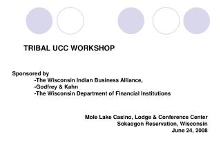 Sponsored by  -The Wisconsin Indian Business Alliance,  -Godfrey  Kahn  -The Wisconsin Department of Financial Instituti