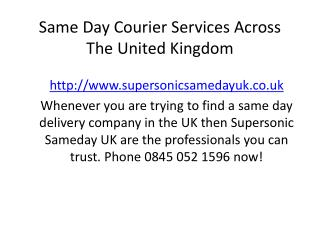 Same Day Courier Services - Same Day Delivery Services