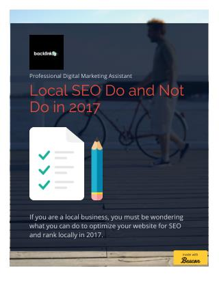 Local SEO Do and Not Do in 2017