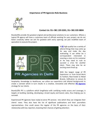 Importance of PR Agencies Role Business