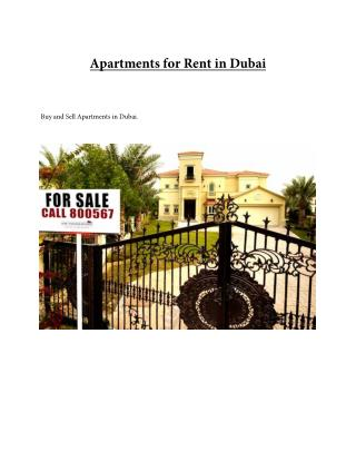 Apartments for Rent in Dubai - UAE