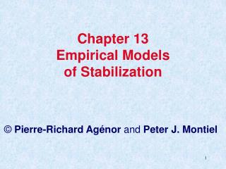 Chapter 13 Empirical Models  of Stabilization