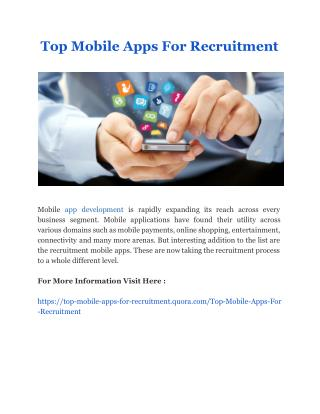 Top Mobile Apps For Recruitment