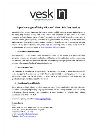 Top Advantages of Using Microsoft Cloud Solution Services