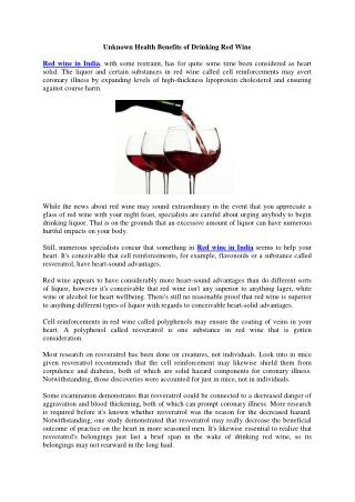 Unknown Health Benefits of Drinking Red Wine
