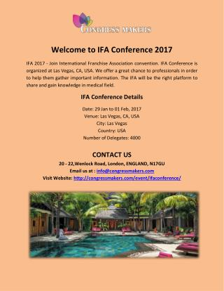Easy Hotel Booking For IFA Conference 2017