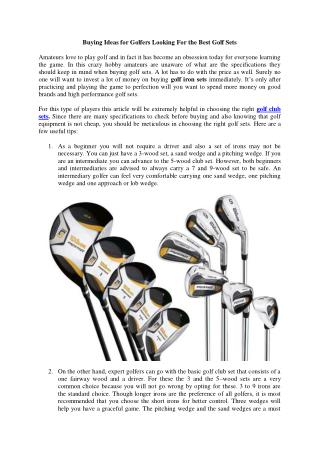 Buying Ideas for Golfers Looking For the Best Golf Sets