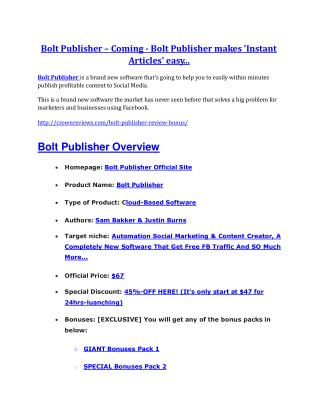 Bolt Publisher review demo - Bolt Publisher FREE bonus
