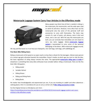 Motorcycle Luggage System Carry Your Articles in the Effortless mode