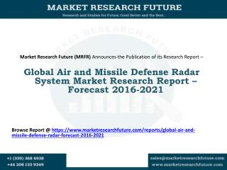Global Air and Missile Defense Radar System Market Research Report – Forecast 2016-2021