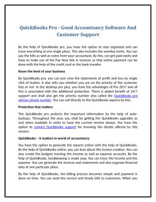 QuickBooks Pro - Good Accountancy Software And Customer Support
