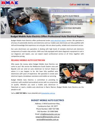 Budget Mobile Auto Electrics Offers Professional Auto Electrical Repairs
