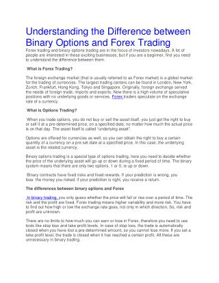 Difference between forex trading and binary options