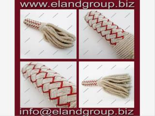 Sash Bullion Tassel Silver and Red