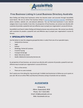 Free Business Listing In Local Business Directory Australia