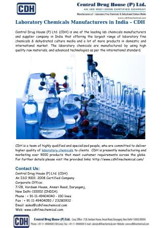 Laboratory Chemicals Manufacturers India � CDH