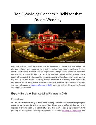 Top 5 Wedding Planners in Delhi for that Dream Wedding