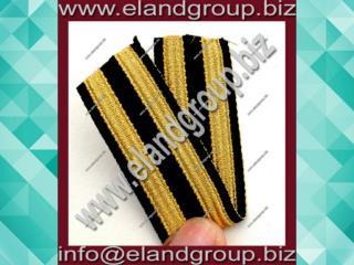 Black Lace Double Golden Stripe Fancy Military Braid