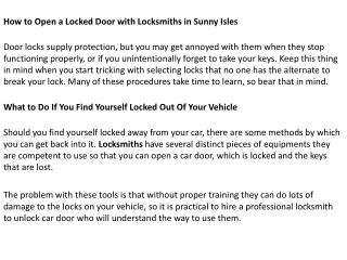 How to Open a Locked Door with Locksmiths in Sunny Isles