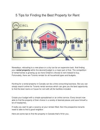5 Tips for Finding the Best Property for Rent