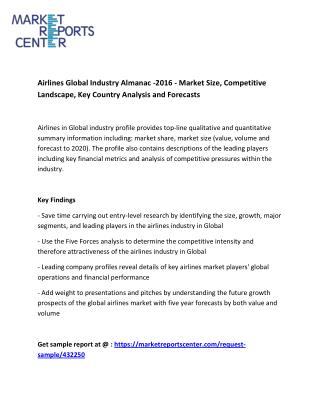 Airlines Global Industry Almanac -2016 - Market Key players and segments
