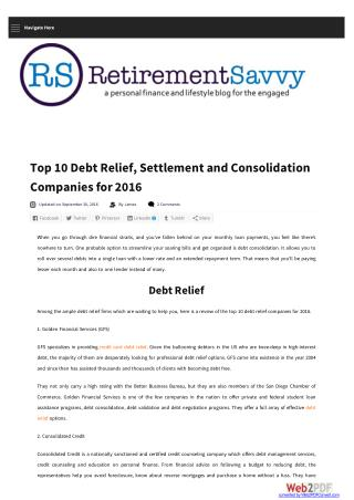 Top 10 Debt Relief, Settlement and Consolidation Companies for 2016