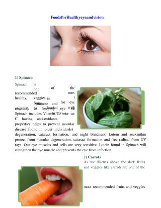 Nutrient rich food for healthy eye and vision