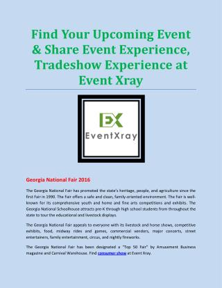 Find Your Upcoming Event & Share Event Experience, Tradeshow Experience at Event Xray