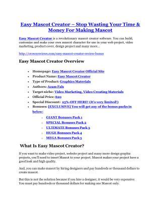 Easy Mascot Creator review & Easy Mascot Creator (Free) $26,700 bonuses