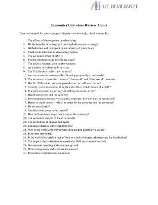 Economics Literature Review