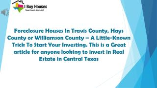 Finding Foreclosure Houses in Travis County!