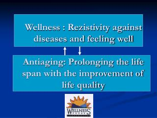 Wellness : Rezistivity against diseases and feeling well  Antiaging: Prolonging the life span with the improvement of li