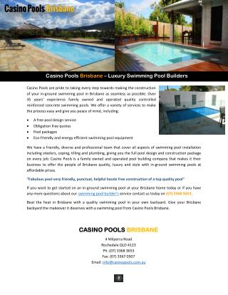 Casino Pools Brisbane – Luxury Swimming Pool Builders