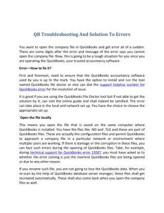 Qb troubleshooting and solution to errors