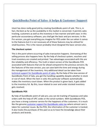 Quick books point of sales  it helps & customer support