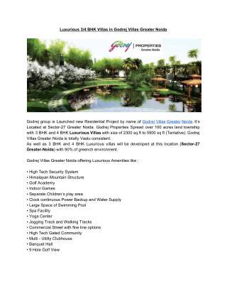 Luxurious 3/4 BHK Villas in Godrej Villas Greater Noida