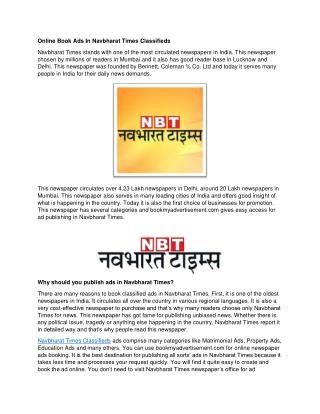 Online Book Ads In Navbharat Times Classifieds