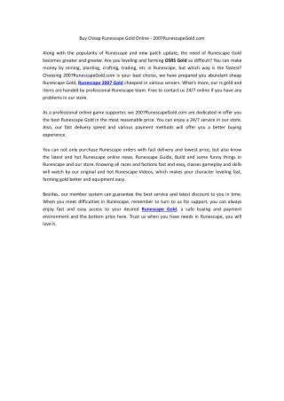 Buy Cheap Runescape Gold Online - 2007RunescapeGold.com