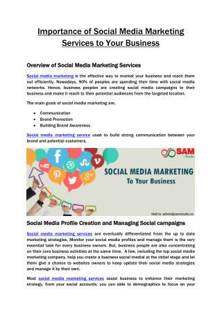 Importance of social media marketing services to your business