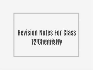 Revision Notes For Class 12 Business Studies
