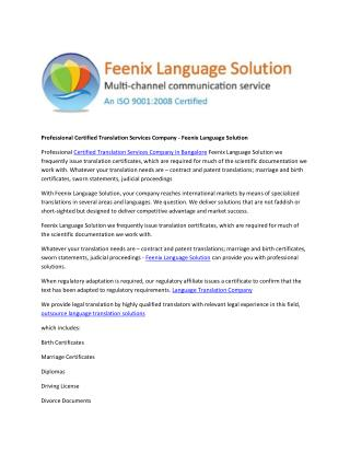 Professional Certified Translation Services Company - Feenix Language Solution