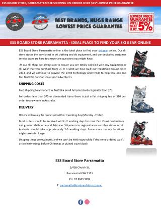 ESS BOARD STORE PARRAMATTA - IDEAL PLACE TO FIND YOUR SKI GEAR ONLINE