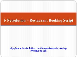 Restaurant Booking Script - i- Netsolution