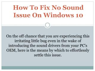 How To Fix No Sound Issue On Windows 10