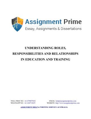 Understanding Roles, Responsibilities and Relationships in Education and Training