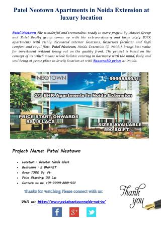 Get Best Diwali Offers Patel Neotown Noida Luxury Apartments reasonable prices