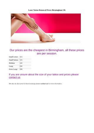 Laser Tattoo Removal Prices Birmingham UK
