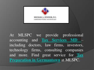Tax Services MD At MLSPC